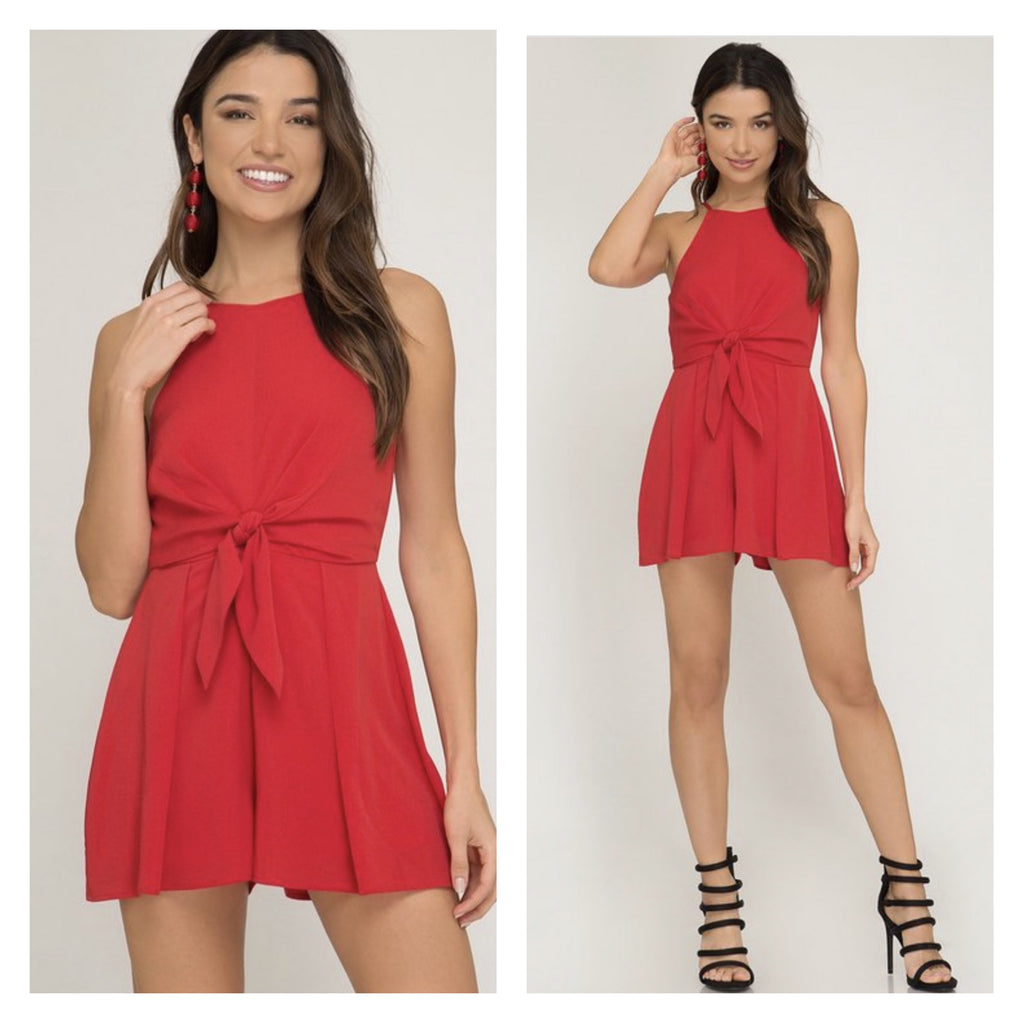 Red Tie Detail Cami Romper