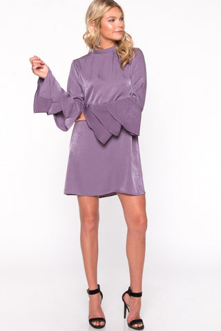 Dusty Plum Ruffle Sleeve Dress