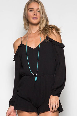 Flirty and Fierce Black Romper