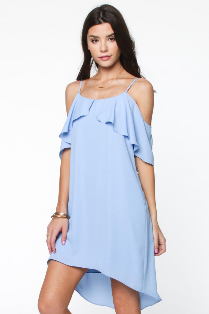 Keep Me Baby Blue Ruffle Cold Shoulder Dress