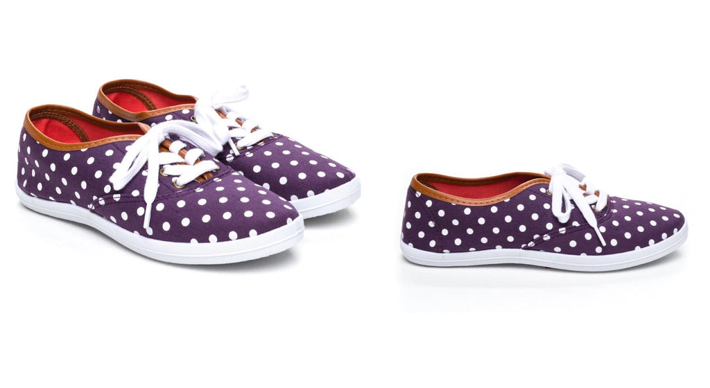 Purple Polka Dot Slip-Ons