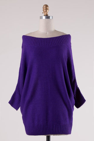 Dark Purple Off the Shoulder Knit Tunic