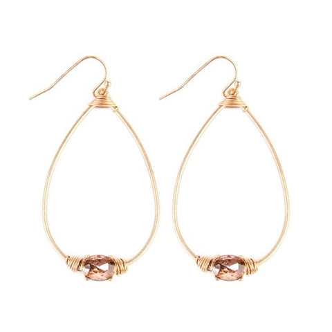 Oval Shaped Rose Gold Rhinestone Earrings