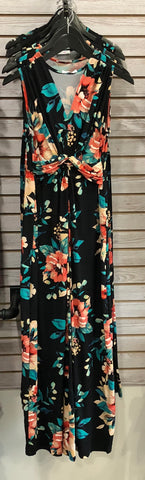 Black Knot-A-Way Floral Maxi Dress