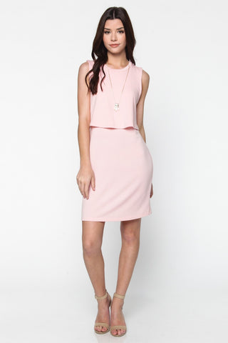 Blush Knit Overlay Dress