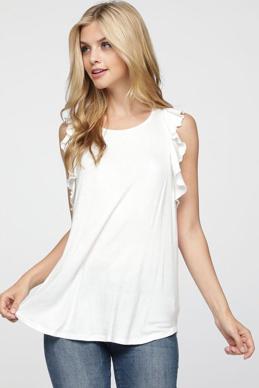 White Ruffle Back Tank
