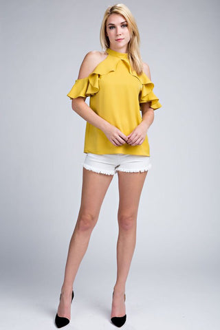 Mustard Ruffle Sleeve Cold Shoulder Top
