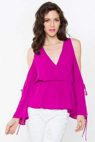 Ultra-Violet Cold Shoulder Peplum Top
