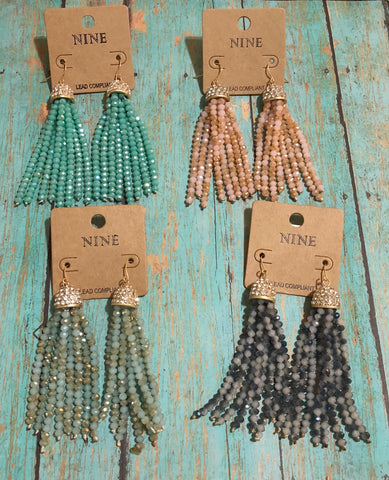 Dazzle Me Beaded Tassel Earrings