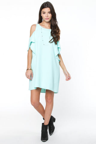 Bright Mint Cold Shoulder Ruffle Dress