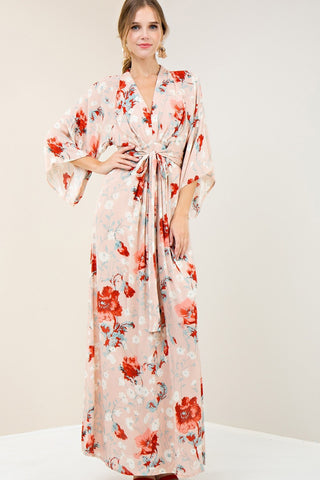 fb7c5baef89 Don t Make Me Blush Floral Kimono Maxi Dress