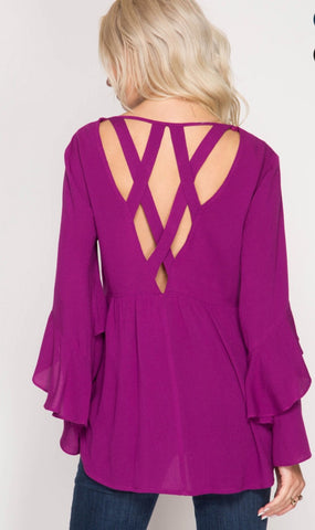 Magenta Open Back Criss Cross Top