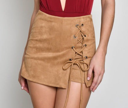 Taupe Faux Suede Lace-Up Skort