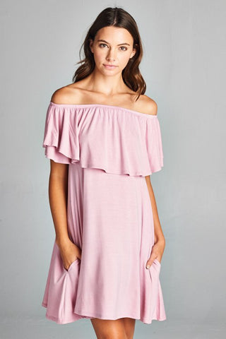 Blush Ruffle Off the Shoulder Dress