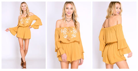 Dusty Gold Off the Shoulder Romper