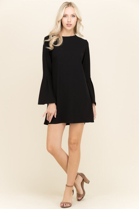 Black Long Bell Sleeve Dress