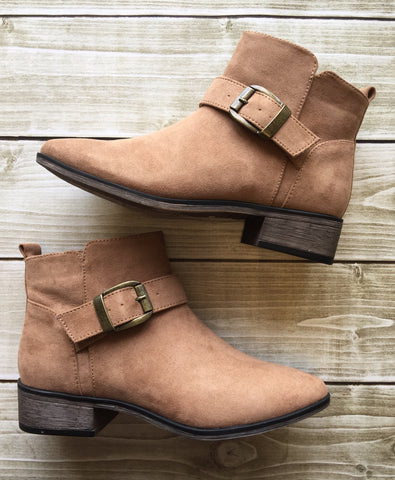 Casual in Camel Ankle Booties
