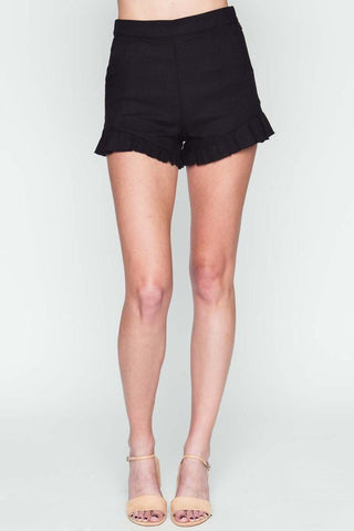 Black Flirty Ruffle Shorts