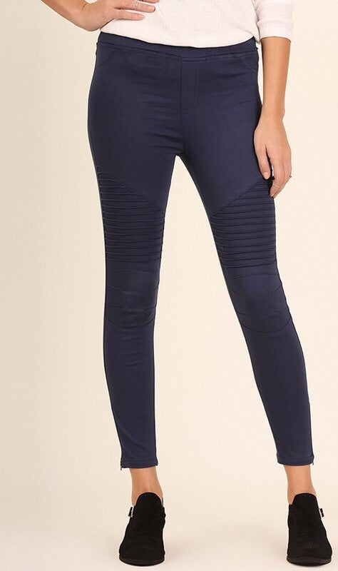 Navy Pintuck Moto Jeggings