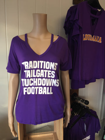 "Purple ""Traditions, Tailgates, Touchdowns, Football"" Tee"