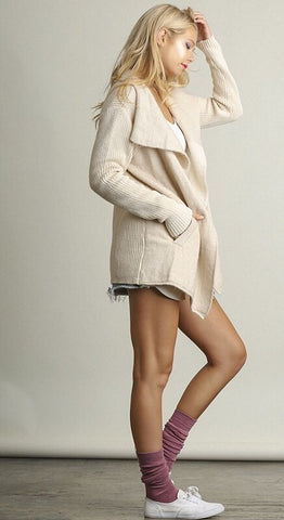 Ivory Cream Open Front Knit Cardigan