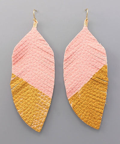Two Tone Faux Leather Feather Earrings