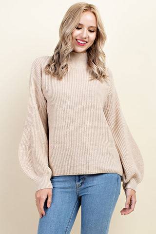 Beige Puffy Sleeve Sweater