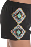 Aztec Embroidery Shorts