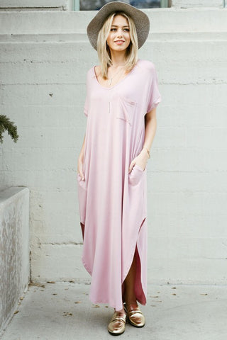 Blush V-Neck Pocket T-Shirt Maxi