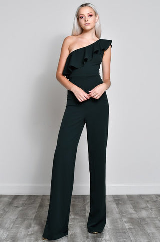 Green with Envy One Shoulder Ruffle Jumpsuit