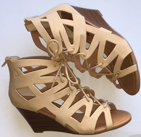 Natural Lace-Up Wedges