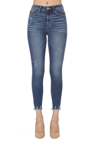 A Touch of Fray Medium Wash Jeans