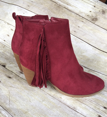 Burgundy Fringe Booties