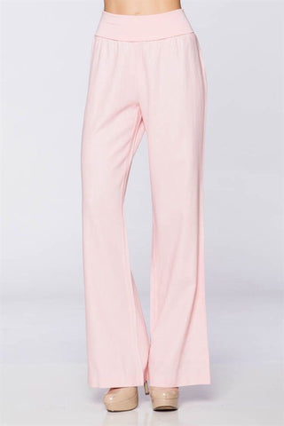 Baby Blush Fold-Over Linen Pants