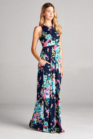 Navy and Bliss Floral Maxi Dress