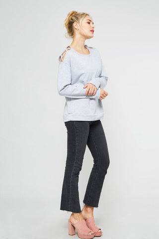 Light Grey Criss Cross Shoulder Sweatshirt