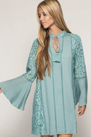 Dusty Slate Bell Sleeve Lace Dress