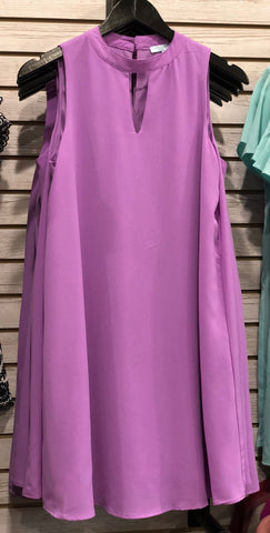 Bright Violet Keyhole Shift Dress