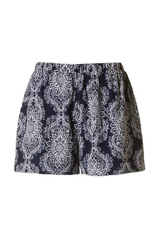 Navy Flower Print Shorts