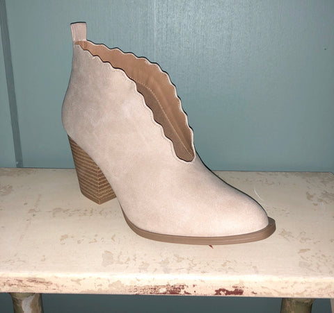 Beige Piper Scallop Detail Booties