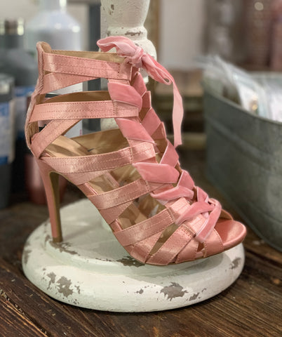 Blush and Bashful Lace-Up Heels