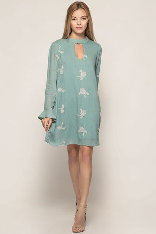 Pastel Slate Floral Embroidery Keyhole Dress