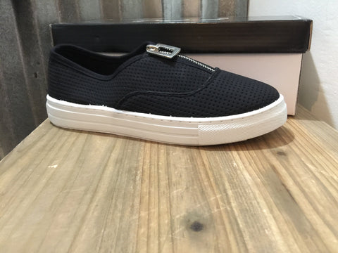Black Zipper Detail Slip On