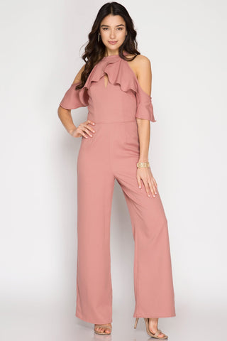 Blush Ruffle Sleeve Dress Jumpsuit