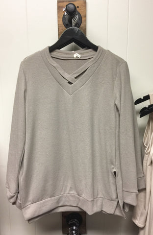 Taupe Cozy Brushed Criss Cross Detail Top