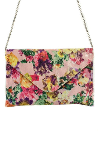 Floral Sequin Clutch