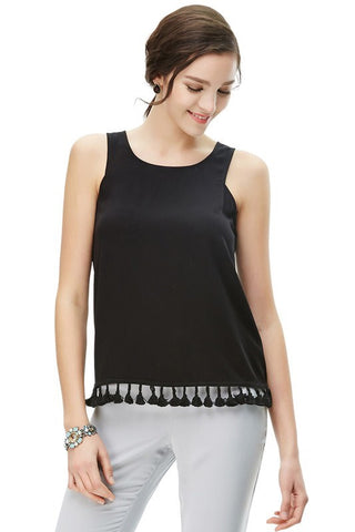 Black Tassel Hem with Back Zipper Detail Tank