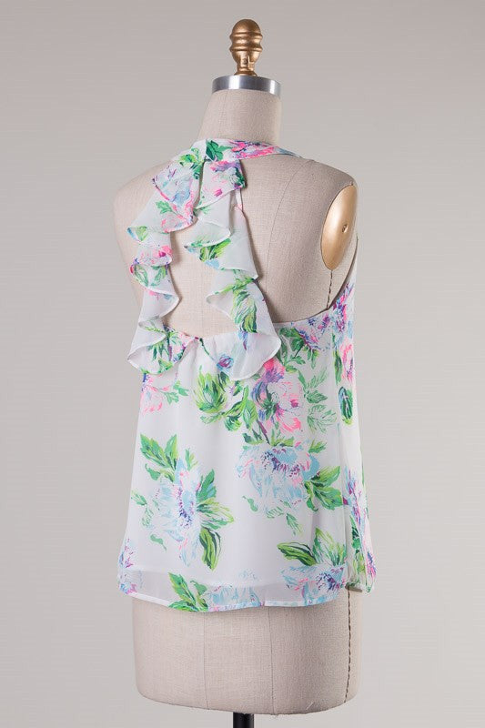 Neon Floral Ruffle Back Tank