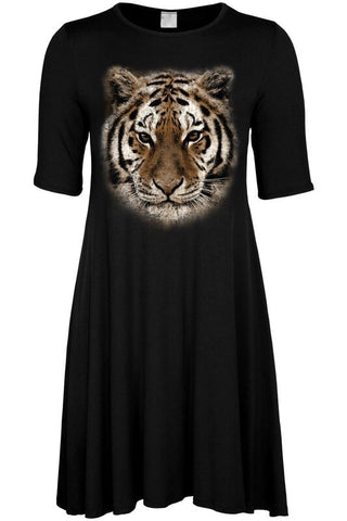 Black Tiger Face Short Sleeve Dress