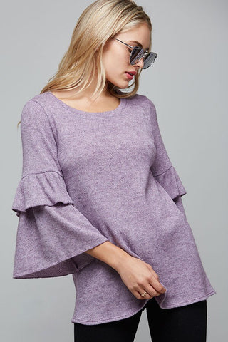 Light Purple Double Ruffle Knit Top